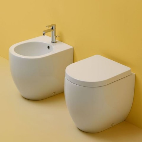 FLO -Set- STAND-WC 48 MIT SITZ SLIM SOFT CLOSE+STAND-BIDET 48 KERASAN