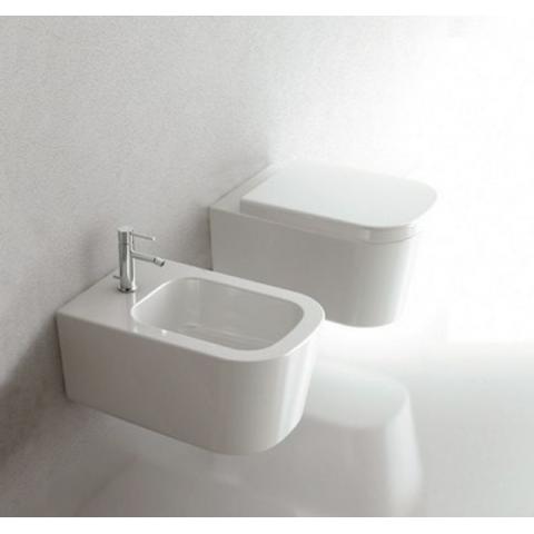 MEG11 SET- WAND-WC MIT DECKEL SOFT CLOSE + WAND-BIDET GALASSIA CERAMICA